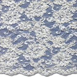Ivory Beaded Wedding Lace Fabric 3872BCS