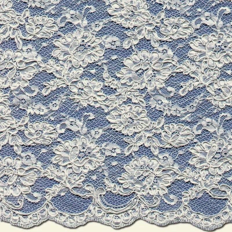 Medium Ivory Corded Wedding Lace Fabric 3872C