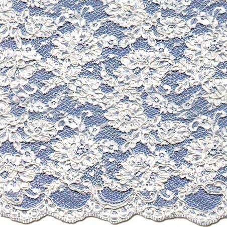 White Corded Wedding Lace Fabric 3872C