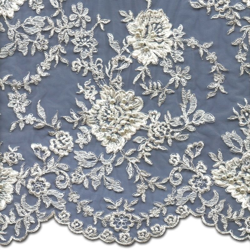 Ivory+Silver Beads & Silver Cord Dress Lace Fabric 3884BC