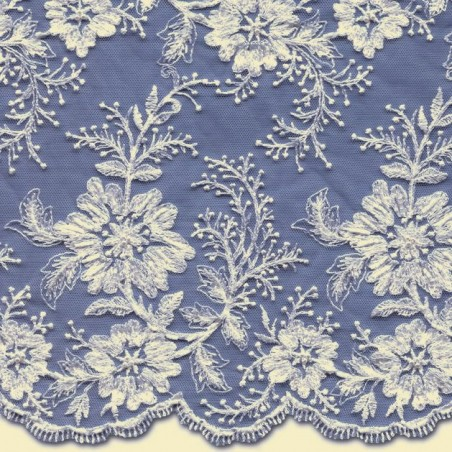Ivory Beaded Wedding Lace Fabric 3885BS