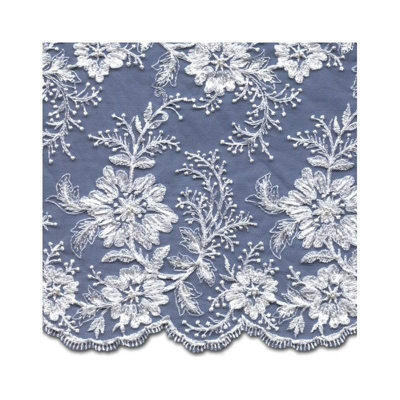 White Beaded Wedding Lace Fabric 3885BS