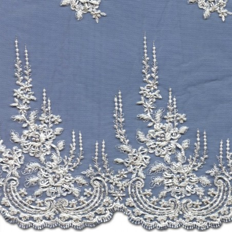 White Beaded Wedding Lace Fabric 3887BS
