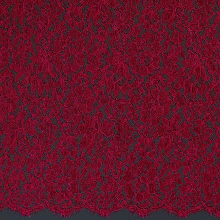 Cerise French Corded Dress Lace Fabric 6418C