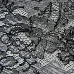 Black French Chantilly Lace Dress Fabric 7034