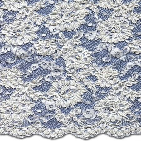 Beaded Wedding Lace Fabric 3872BCS | Bridal Lace Fabric | Cord | Buy